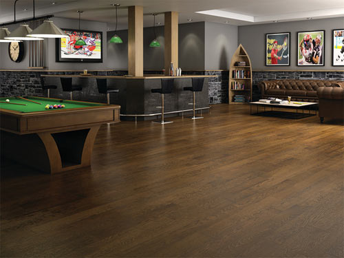 hardwood floors provide a warming atmosphere and an attractive flooring in any part of the home including the basement